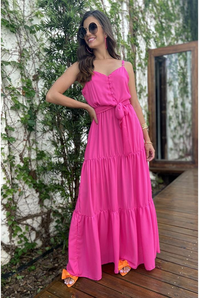 vestido longo rosa audela - DBoneca