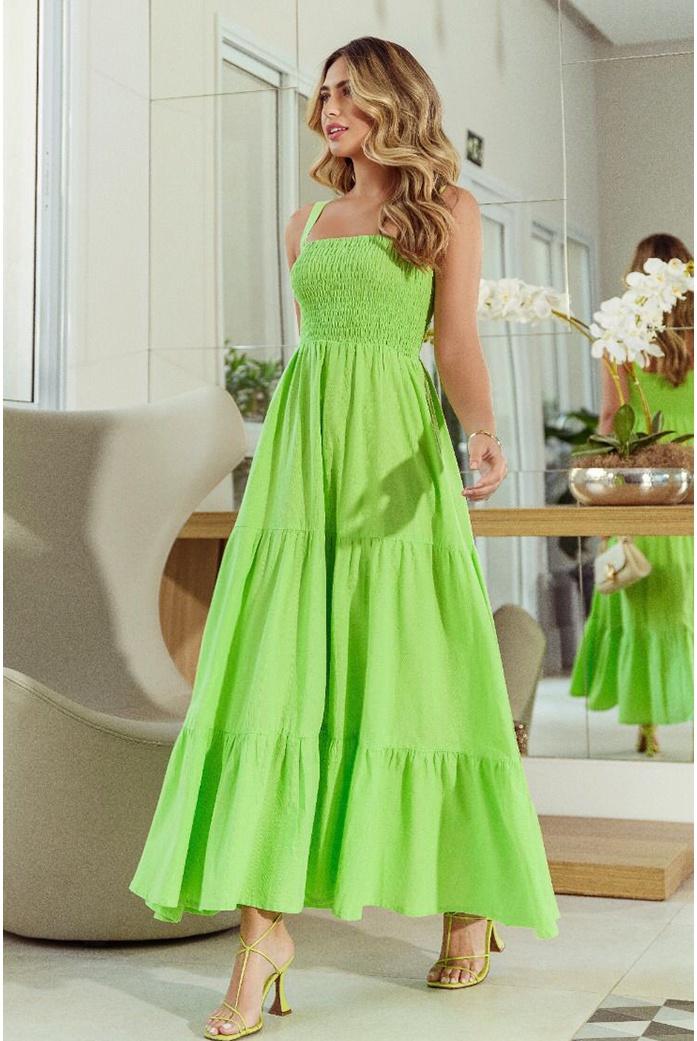 Vestido mídi lastex verde vida bela - DBoneca