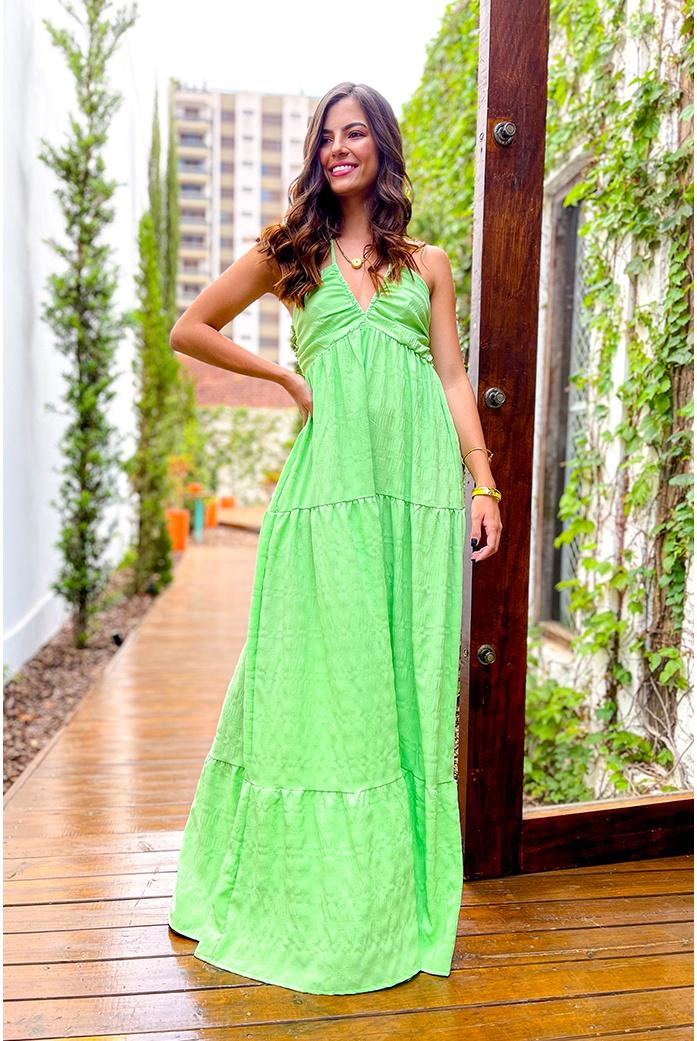 Vestido longo decote Verde Vida bela - DBoneca