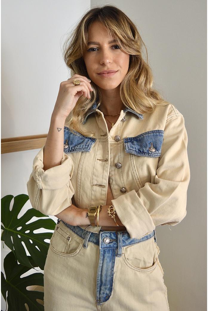 Jaqueta dual color alcance jeans - DBoneca