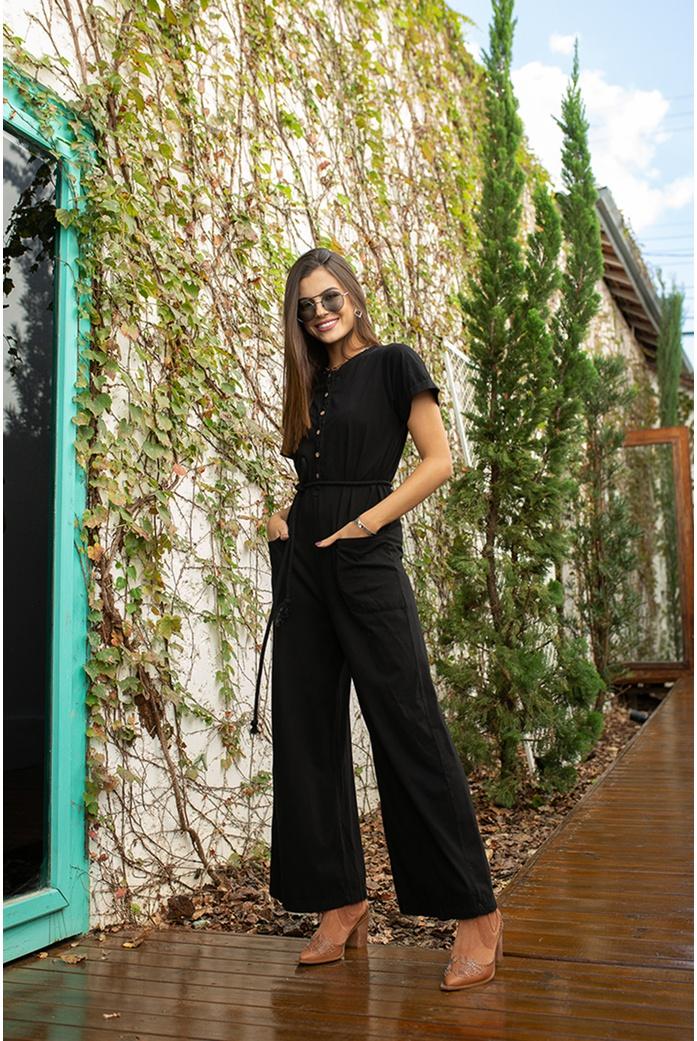 Macacão preto alcance jeans - DBoneca