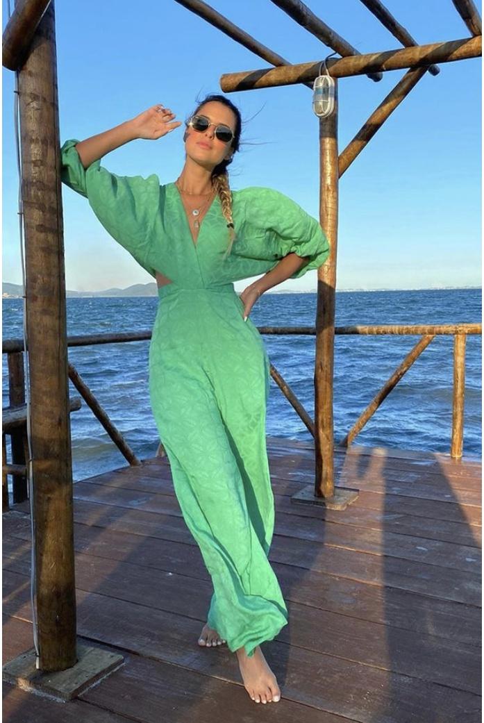 Macacão pantalona verde salgunamu - DBoneca