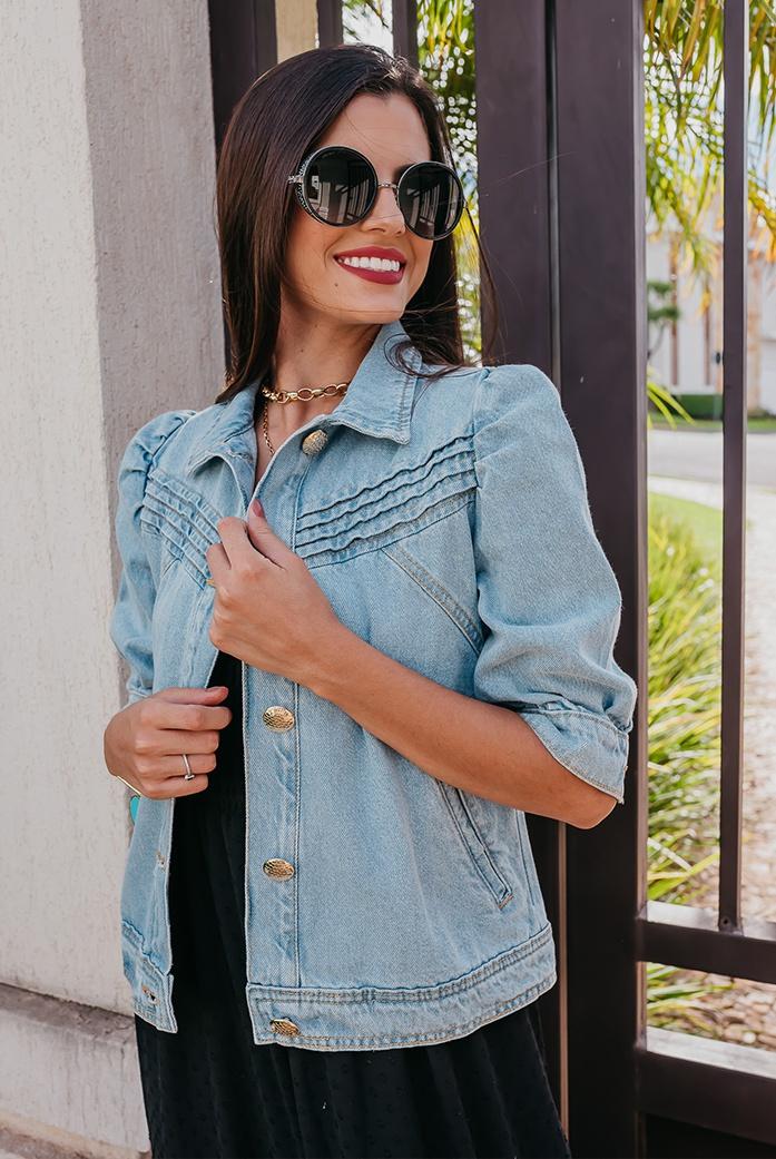 Jaqueta Litt Jeans Manga Bufante - DBoneca