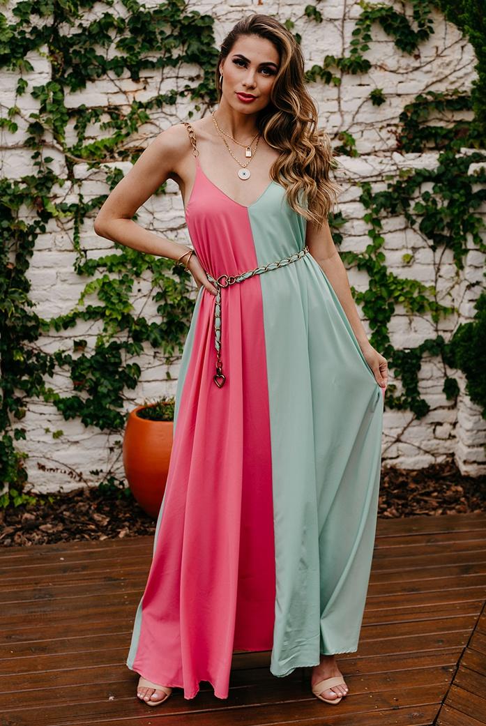 Vestido D'Boneca Cintia Rosa E Azul - DBoneca