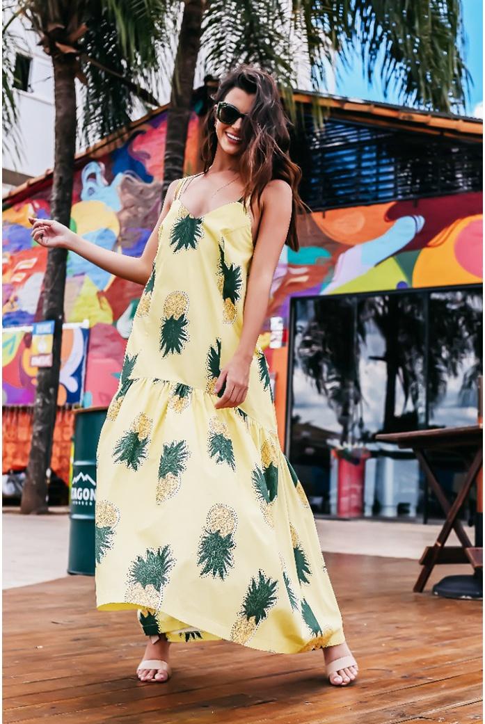 Vestido Salgunamu Abacaxi Amarelo - DBoneca