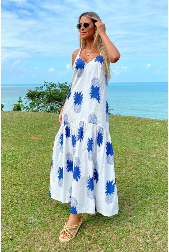 Vestido Salgunamu Abacaxi Azul - DBoneca
