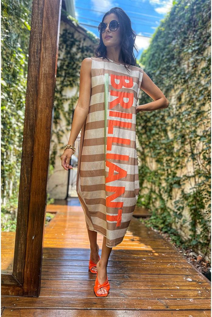 Vestido Salgunamu em Malha Listrado - DBoneca