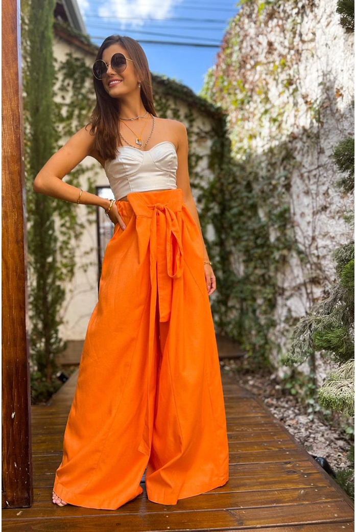 Calça pantalona laranja salgunamu - DBoneca