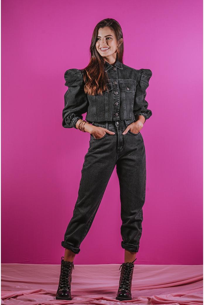 Calça mom black alcance jeans - DBoneca