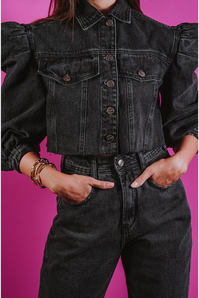 Jaqueta Alcance Jeans Cropped Black - DBoneca