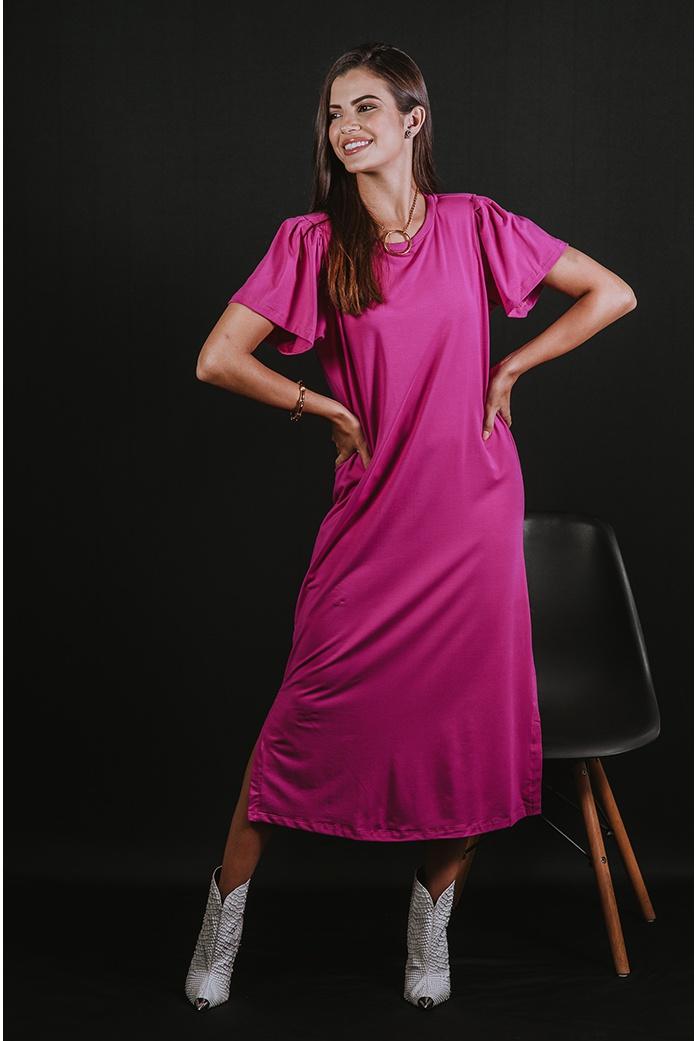 Vestido Alcance Jeans Rosa Pink - DBoneca