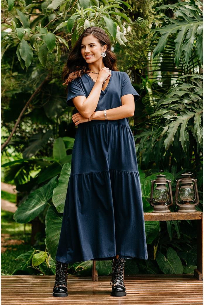 Vestido Blessed Kalyana Azul Marinho - DBoneca