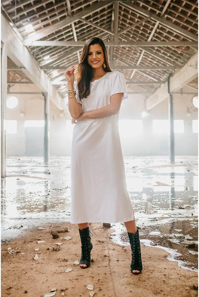 Vestido alcance jeans basico branco - DBoneca