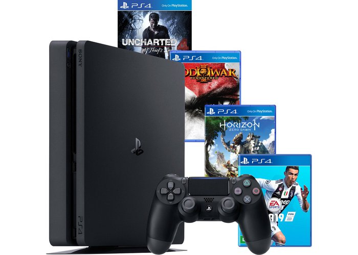 PS4 - Console Playstation 4 Slim 2215A- HD 500 GB + 4 Jogos