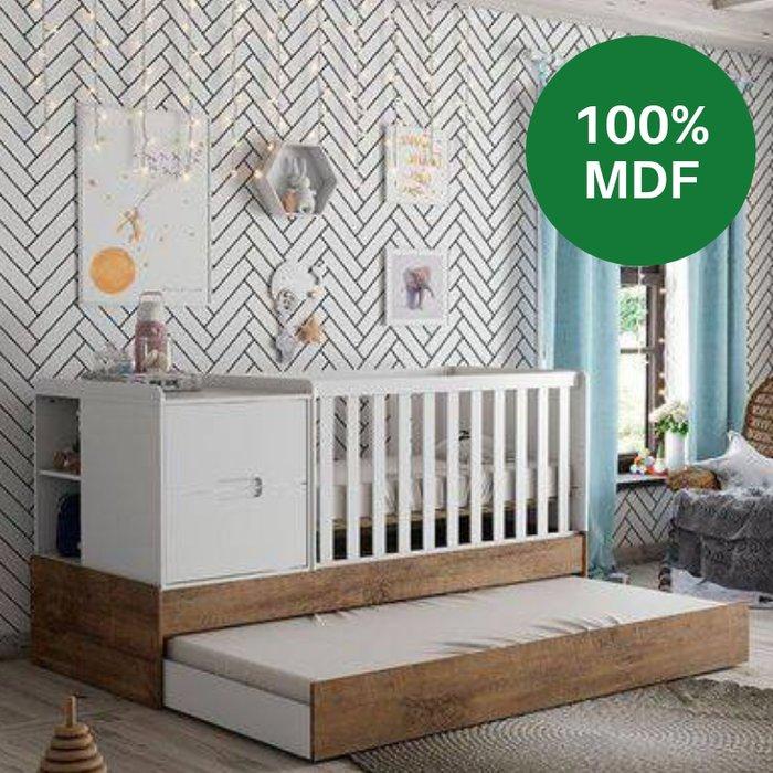 Berço Matic Crescer Americano 100% MDF com Grade Fixa Branco/ Teka