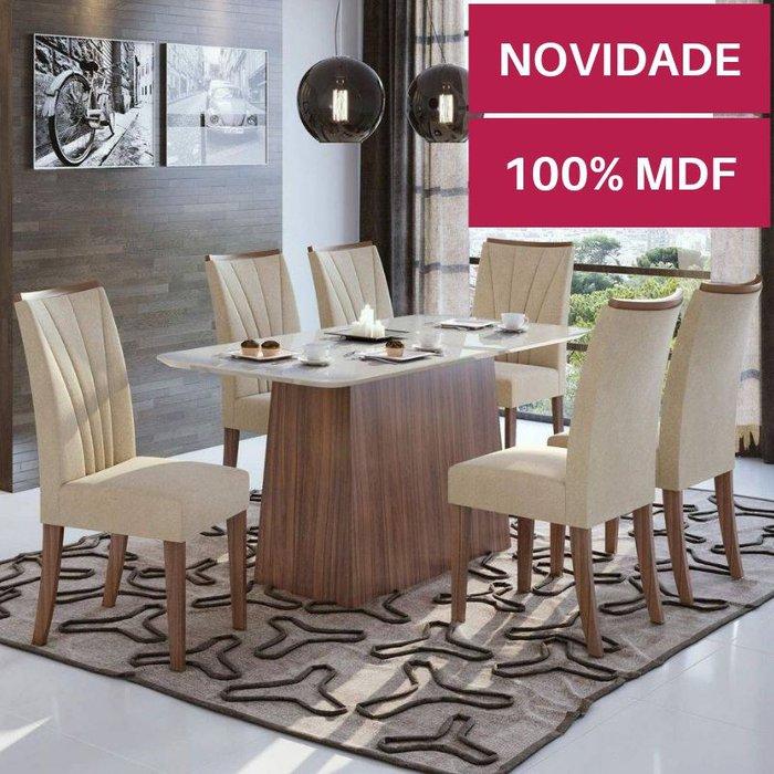 Mesa com 6 cadeiras Lopas Nevada Imbuia Naturale com tampo de vidro Off White 1,80m