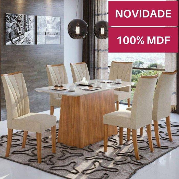 Mesa com 6 cadeiras Lopas Nevada Rovere Naturale com tampo de vidro Off White 1,80m