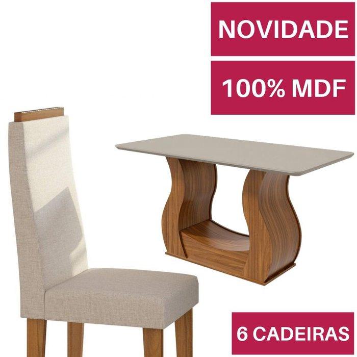 Mesa com 6 cadeiras Lopas Dafne Rovere Naturale com tampo de vidro Off White 1,60m