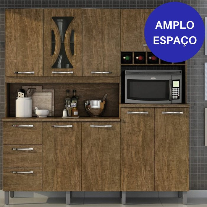 Kit Cozinha Compacta Valdemóveis Criative 8 Portas e 3 Gavetas Ipê/Ipê