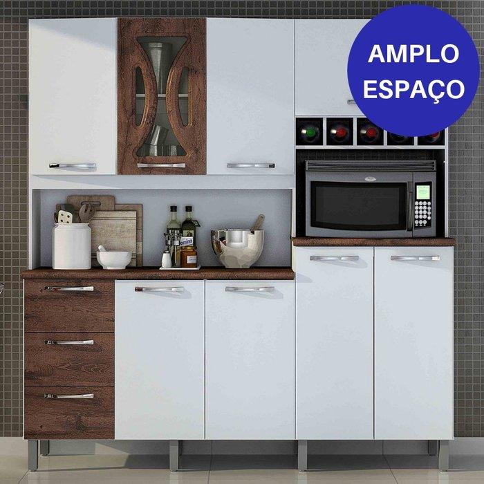Kit Cozinha Compacta Valdemóveis Criative 8 Portas e 3 Gavetas Branco/Castanho