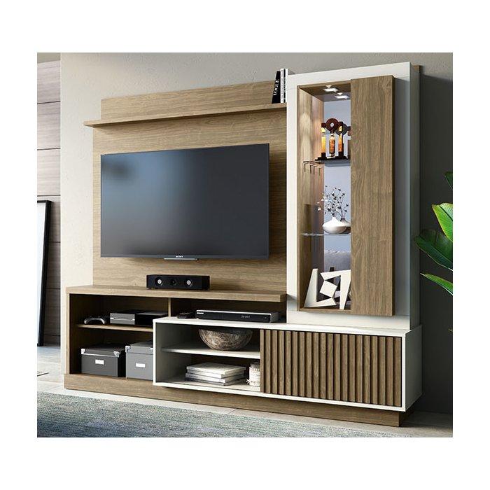 """Home Suspenso Linea Amazon para TV de até 60"""" Avelã Off White"""