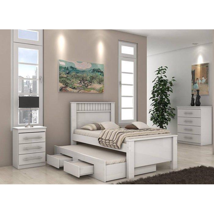 Cama Lopas Bibox de Solteiro Athenas 2 Gavetas Branco/Branco
