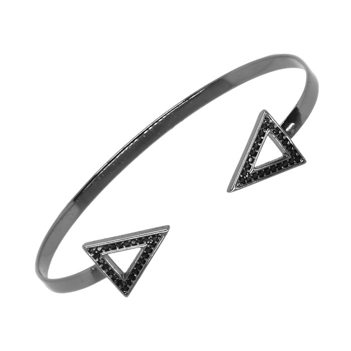 1a56d01b351 Bracelete Cravejado Triângulo Ródio Negro Semijóia