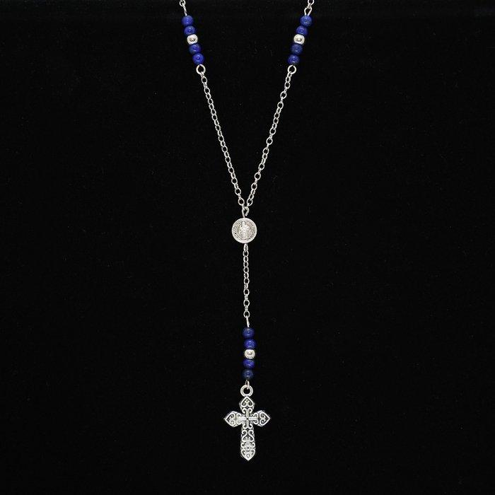 Colar Terço Cruz com Pedras Naturais Lápis Lazuli   MANTOAN LOJA 44b9fe502f