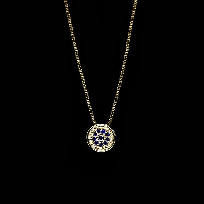 150eb0d215c4e Colar Antialérgico Mandala Cravejada Azul Safira Banho Ouro ...