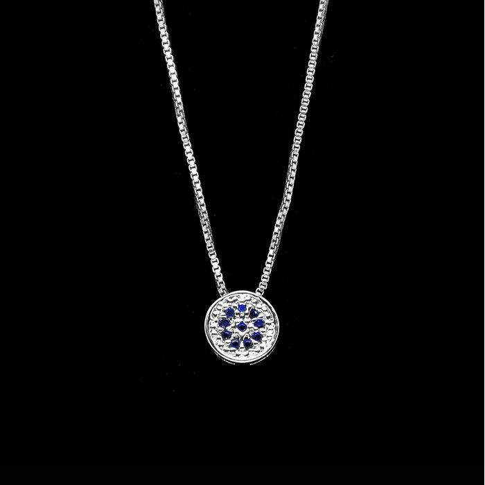 c72b22cb170 Colar Antialérgico Mandala Cravejada Azul Safira Banho Diamante ...