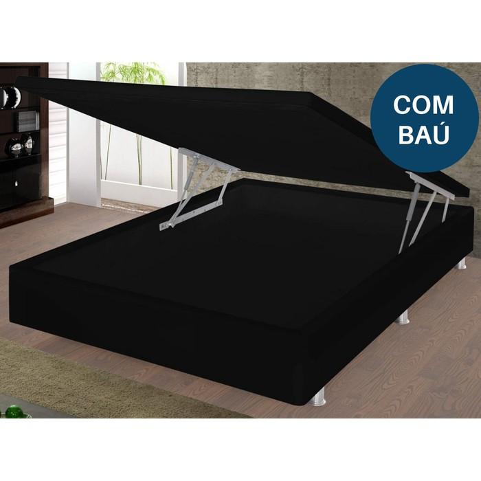 Base Box de Casal Turim Damasu 88x158x30 Preto com Baú