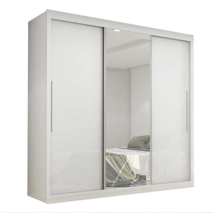 Guarda Roupas de Casal Gelius Safira 3 Portas Com Espelho Branco