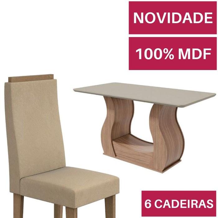 Mesa com 6 cadeiras Lopas Dafne Carvalho Naturale com tampo de vidro Off White 1,60m