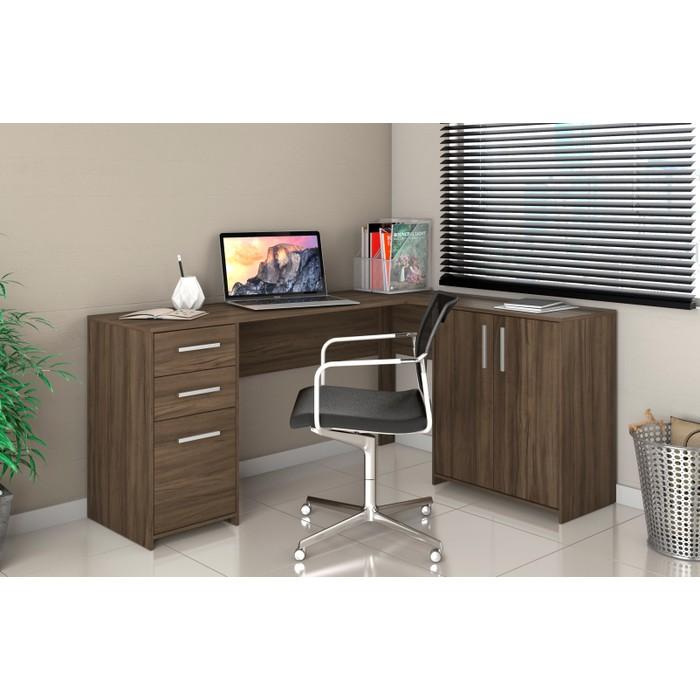 Mesa de Canto em L para Escritório Office NT2005 - Canela Madeirado