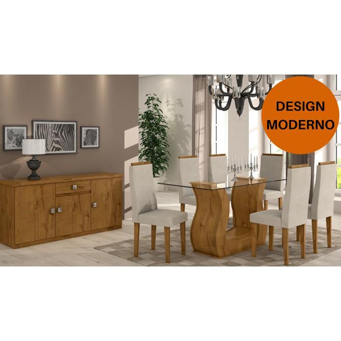 Sala de Jantar Dafne Rovere Soft - Mesa Dafne 1,60 com tampo de vidro - 6 Cadeiras Dafne e Buffet Luanda