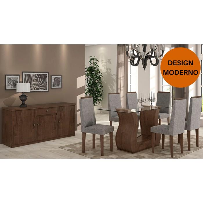 Sala de Jantar Dafne Imbuia Soft - Mesa Dafne 1,60 com tampo de vidro - 6 Cadeiras Dafne e Buffet Luanda