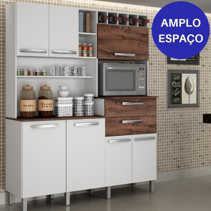 Kit Cozinha Compacta Valdemóveis Monte Rey 7 Portas e 2 Gavetas Branco/Castanho