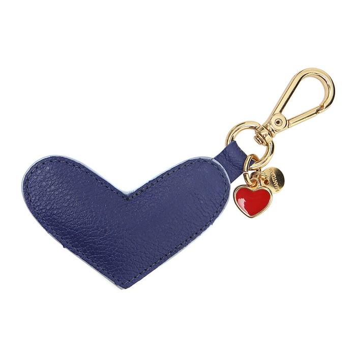 Chaveiro Coração Couro Azul