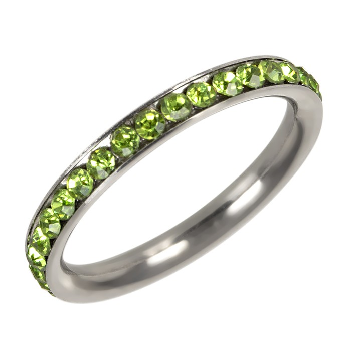 Anel Pedra Verde Aço Inox