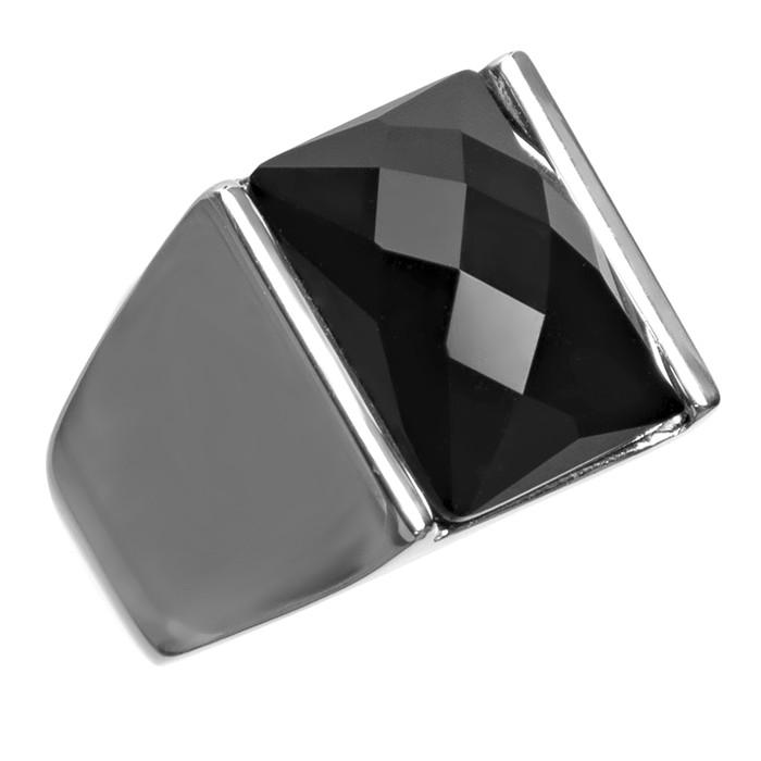 Anel Pedra Preto 11x16mm Aço Inox