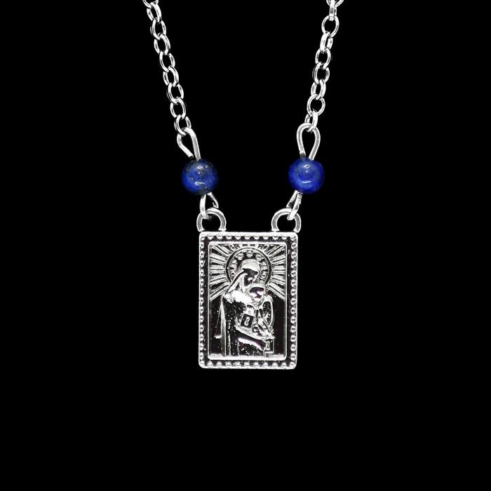 Escapulário Inoxidável Níquel Lápis Lazuli