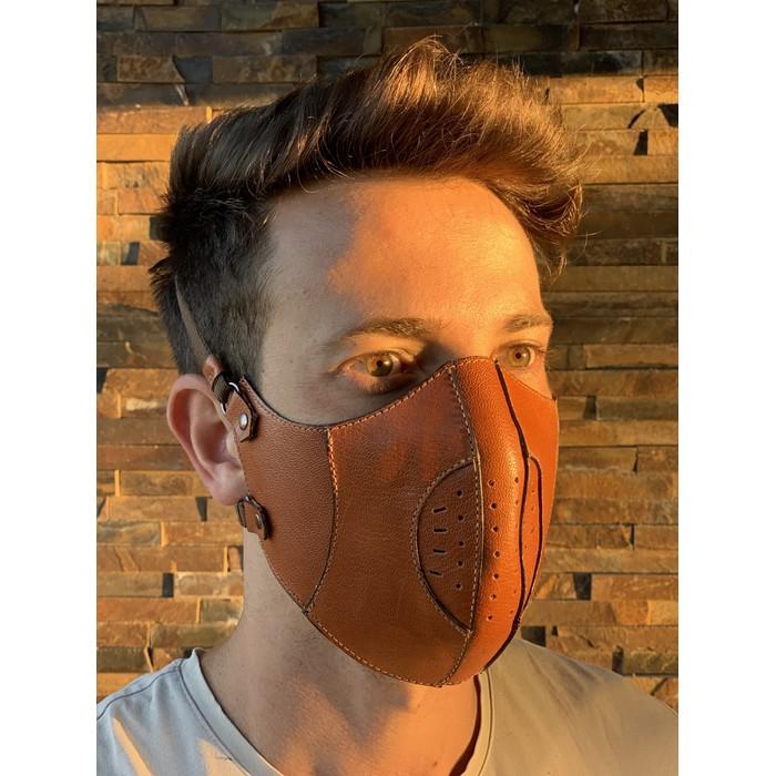 Máscara Couro Legítimo Caramelo Modelo 7.3 (escrever cor desejada no final do pedido)