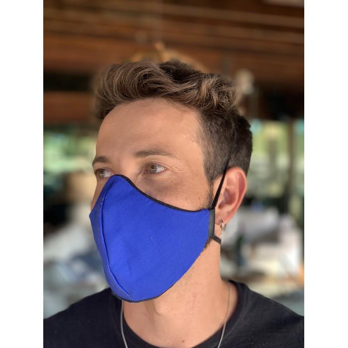 Máscara Tecido Lavável Bicolor Azul Cor 2.8