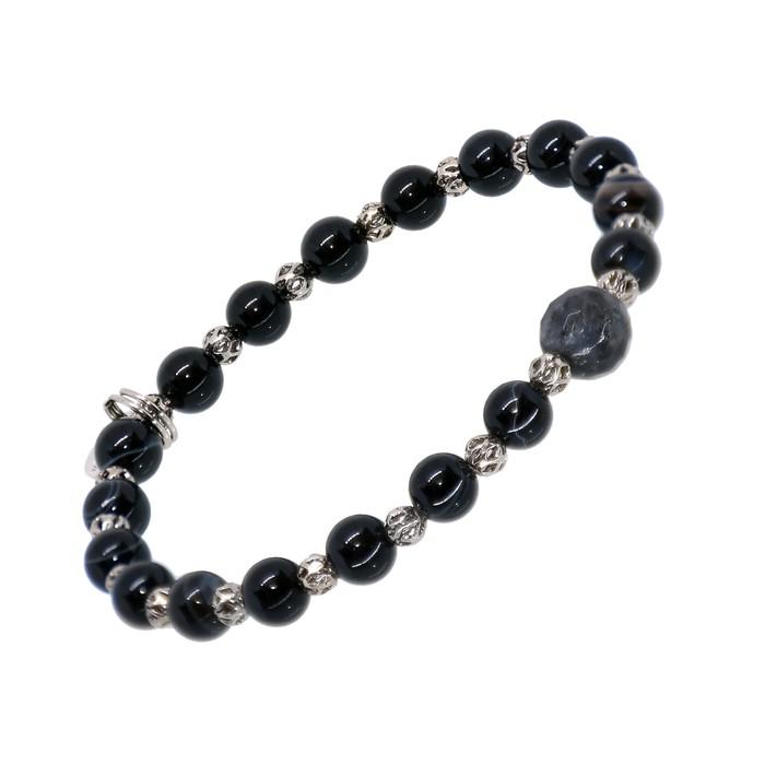 Pulseira Pedra Natural Ônix Negra 4mm com esferas