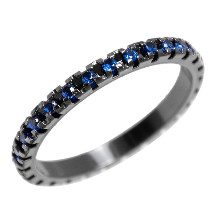 Anel Zircônia Azul 2 mm Ródio Negro