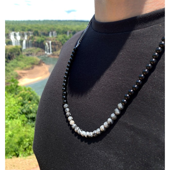 Colar Pedra Natural Ônix Negra e Labradorita Semijoia