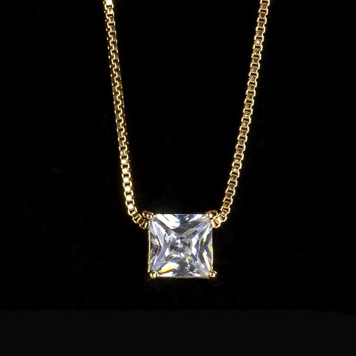 Colar Zircônia Incolor Quadrado 6x6mm Ouro