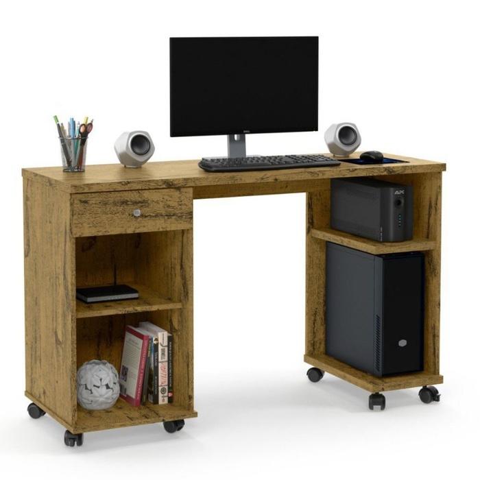 Escrivaninha Mesa para Computador Patrimar Million 1 Gaveta/Nichos/Rodízio Nature