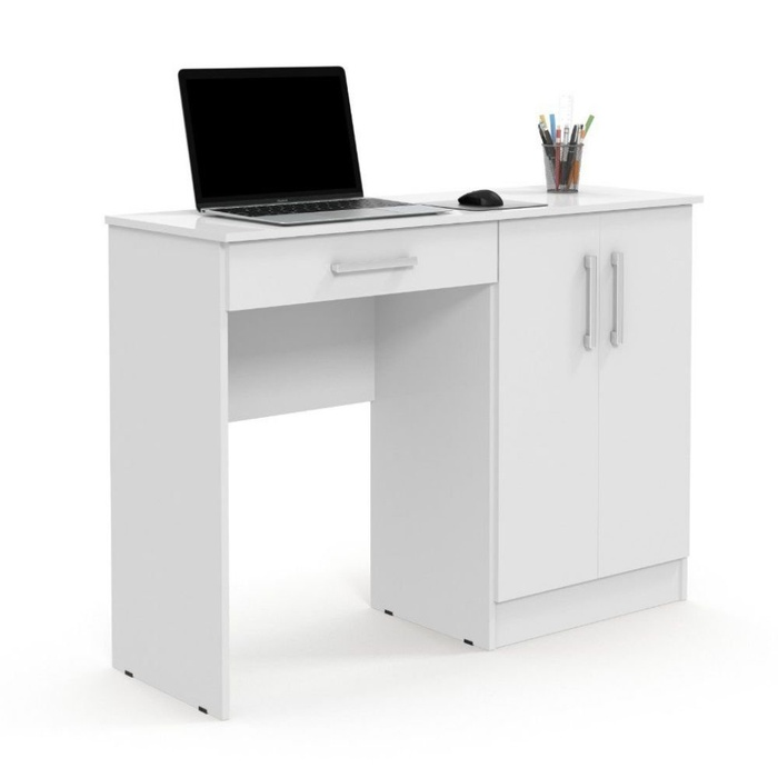 Escrivaninha Mesa para Computador Patrimar Space 1 Gaveta/Armário Lateral com 2 Portas - Branca