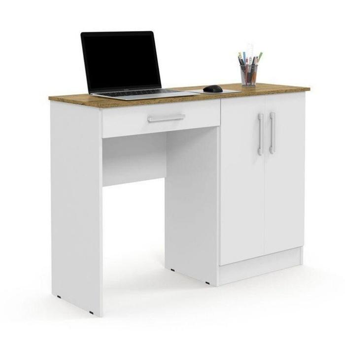 Escrivaninha Mesa para Computador Patrimar Space 1 Gaveta/Armário Lateral com 2 Portas - Branca/Nature